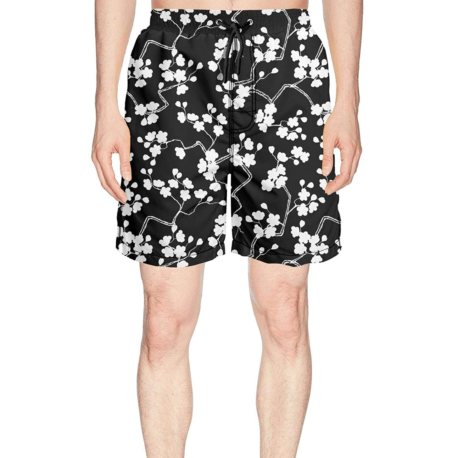 LKIMNJ Mens Print Boardshorts Spring Natural Flowers Quick Dry Comfortable Pockets Mesh Lining