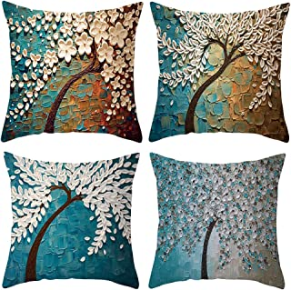 Jhdstore [4-Pack, 2-Sides Printed] Decorative Oil Painting Tree Pillow Cushion Cover Set Velvet Pillow Case for Sofa Couch Bed Car 18 x 18 Inch 45 x 45 cm(Blue Tree)