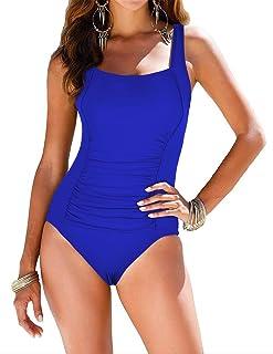 e3ca189b57de5 Firpearl Women s Black One Piece Bathing Suit Ruched Tummy Control Swimsuit