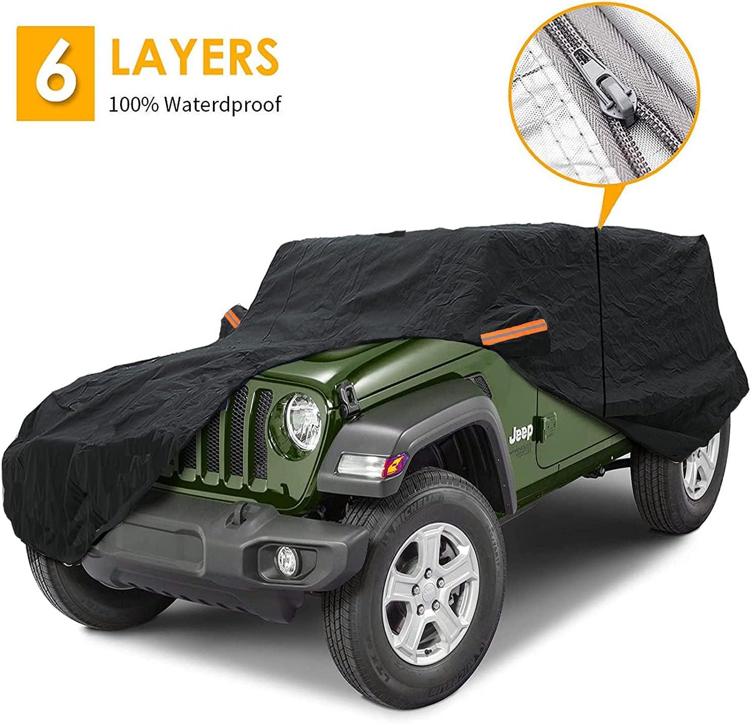 Big Ant Funda para coche 100 % impermeable para Jeep Wrangler de 2 puertas, Jeep Cubierta de coche para CJ, YJ, TJ y JK 2 puertas con cremallera (negro)