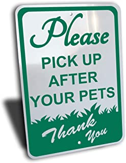 """Please Pick UP After Your Pets Sign, Aluminum, Green, 7"""" by 10"""", no Dog Pooping on Yard Protection"""