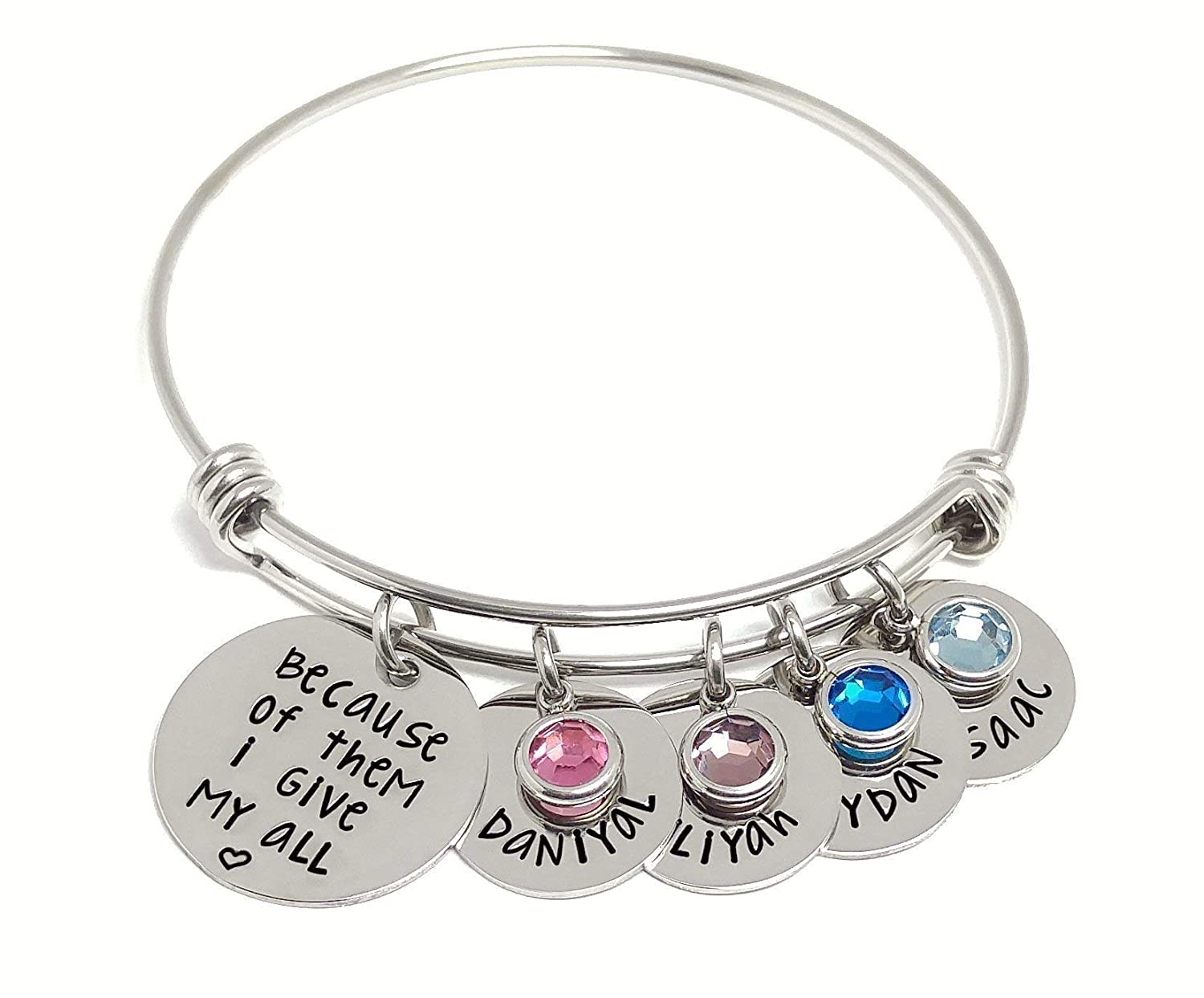 Personalized Charm Max 79% OFF Bangle Bracelet Birthstone And - Special Campaign Name