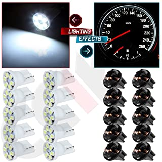 cciyu 10 Pack White T10 PC168 6-3020-SMD Led Lighting Bulbs Instrument Cluster Twist Lock