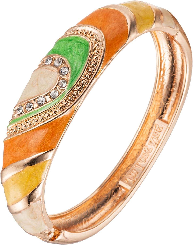 UJOY Vintage Cloisonne Bracelet Handcraft Multi-Colored Rhinestone Enamel Oval Hinged Cuff Bangle Jewelry Gifts 88A26