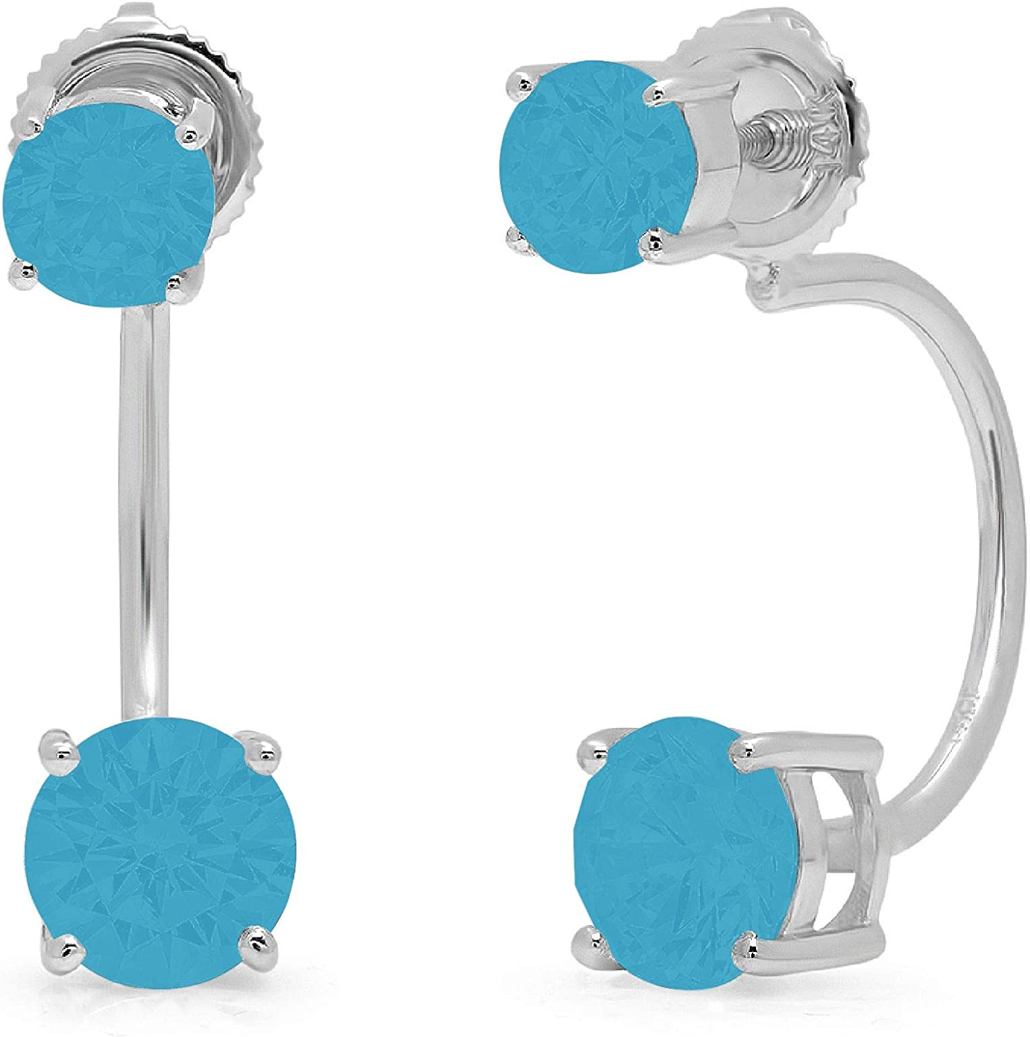 Clara Pucci 3.20 CT Dual Double Drop 2 stone Brilliant Round Cut Solitaire Genuine VVS1 Flawless Simulated Turquoise Gemstone Pair of Lever back Drop Dangle Earrings Solid 18K White Gold