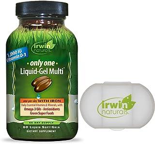 Irwin Naturals Only One Liquid-Gel Multivitamin with Iron + Omega-3 Oils, Antioxidants, Green Super Foods - 60 Liquid Soft...