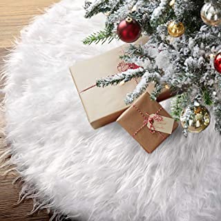 Townshine 48 Inch Christmas Tree Skirt Double Layers Faux Fur Tree Mat for Christmas Holiday Party Decoration Ornaments