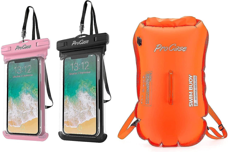 ProCase Universal Waterproof Case Cellphone Dry Bag Bundle with 35L Waterproof Swim Buoy Backpack