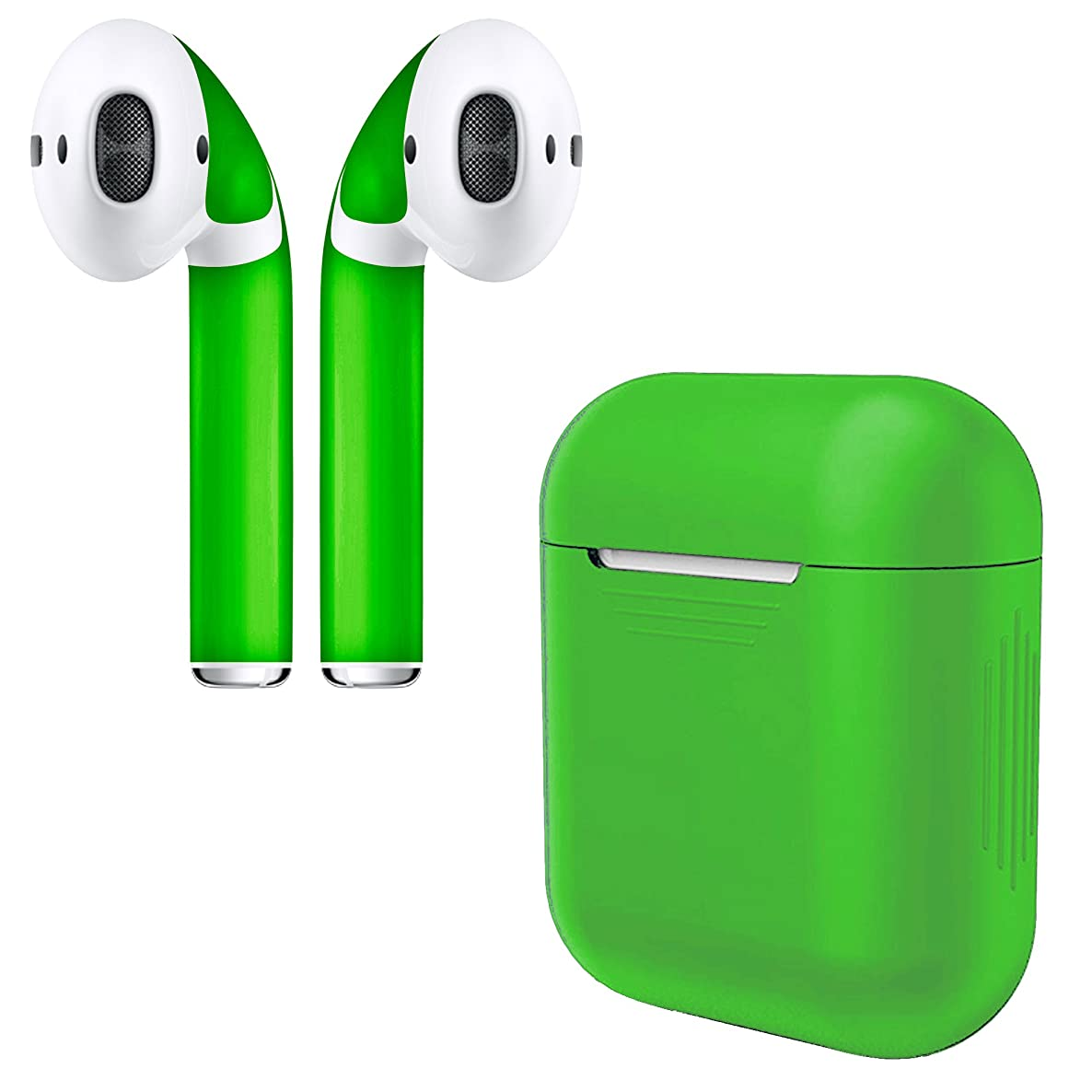 APSkins Silicone Case and Stylish Skins Compatible with Apple AirPod Accessories (Green Case & Skin)