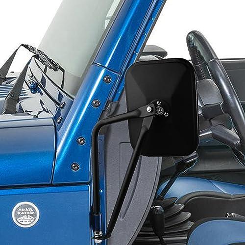 PROAUTO Square Doors 4x4 Doorless Wrangler Side Qucik Release Mirrors for Jeep TJ JK-JKU