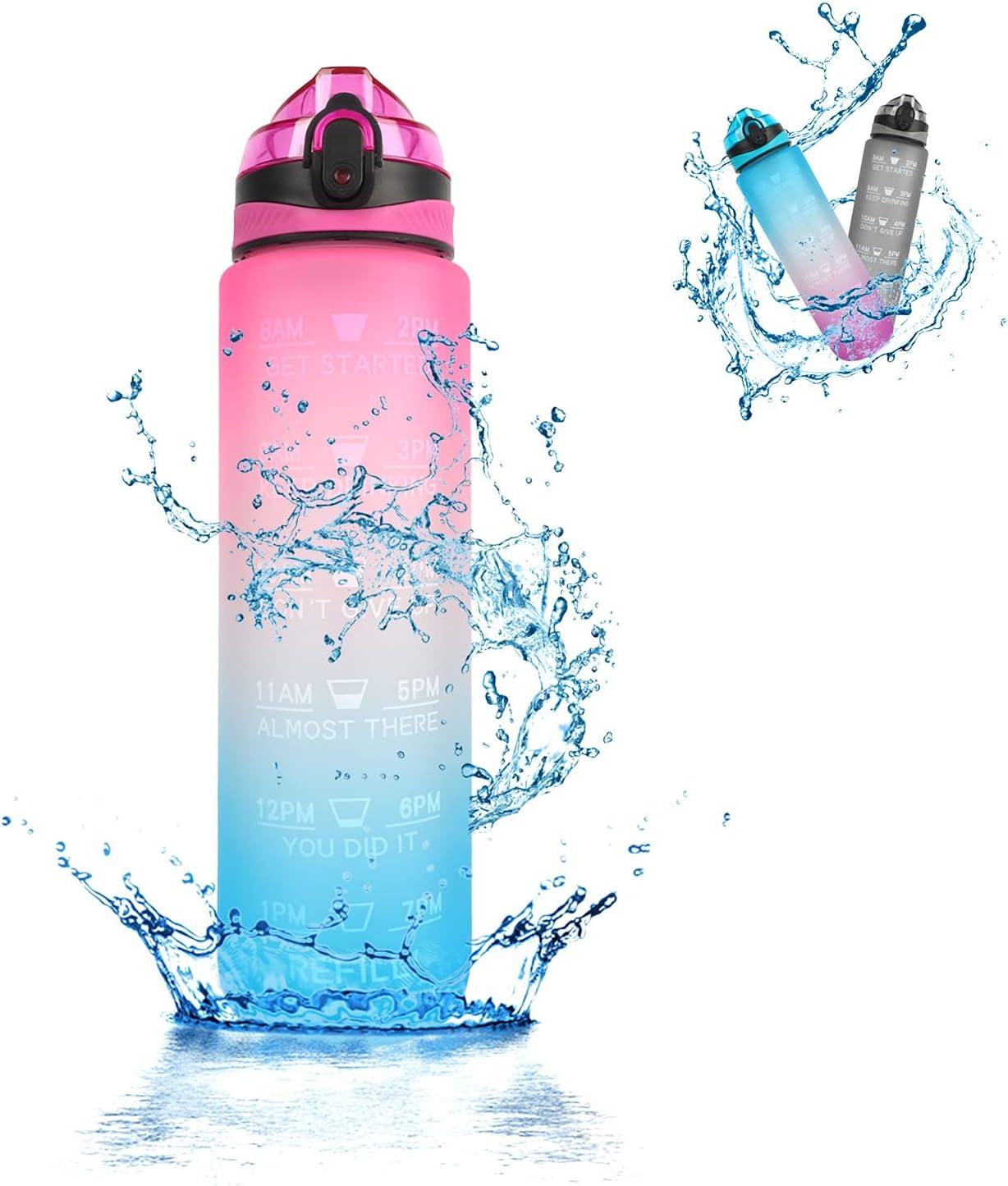 Runmeihe Botella de agua motivacional de 32 oz a prueba de fugas Tritan Bpa Free Bottle Time Marker con boquilla de silicona para actividades al aire libre, gimnasio, oficina (Blue Pink)