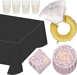 Pink & Gold Diamond Bride to Be Paper Dinner Plates, Lunch Napkins, Reusable Plastic Cups, Table Cover, and Ring Balloon S...