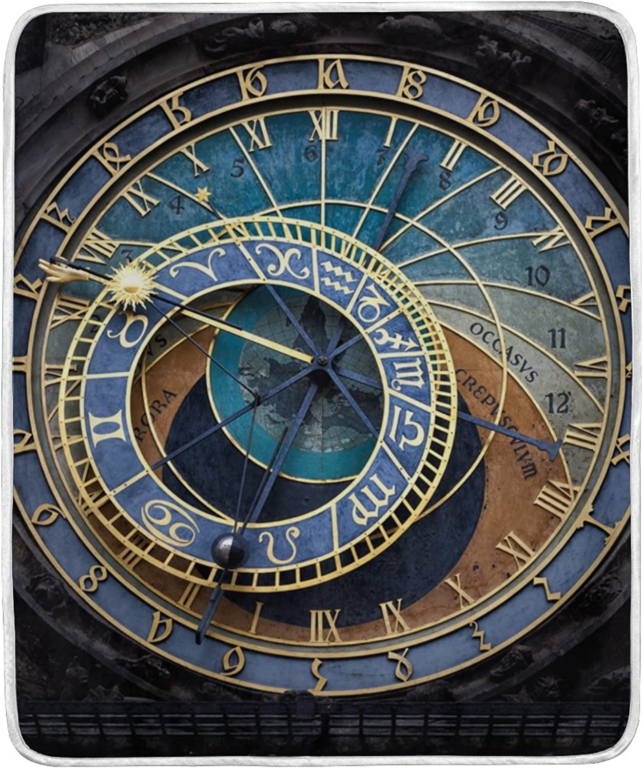 ALIREA The Prague Astronomical Clock Super Soft Warm Blanket Lightweight Throw Blankets for Bed Couch Sofa Travelling Camping 60 x 50 Inch for Kids Boys Girls