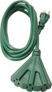 Woods 2466 Outdoor Tri-Tap Extension 3 Grounded Outlets, Waterproof Flexible Vinyl Jacket, Reinforced Blades, Ideal for Landscaping Lighting and Decoration, 8-Foot Cord, Green, 8 ft, 1