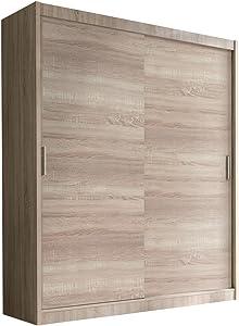 Schwebetürenschrank Alfa Kleiderschrank mit Spiegel, Modernes Schlafzimmerschrank, Schiebetür Schrank, Schlafzimmer (150 cm - ohne Spiegel, Eiche Sonoma Hell)