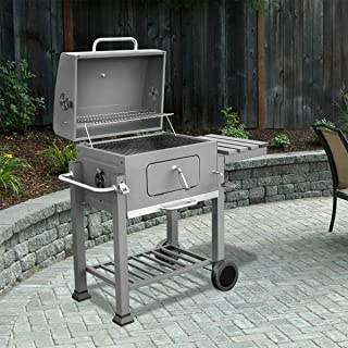 XtremepowerUS Deluxe Charcoal Grill Large Station Outdoor Backyard BBQ Grill Barbecue Grill Stove Cooking Built-in Thermometer Charcoal Grate