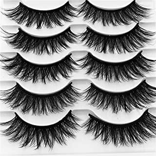 3D Mink Hair False Eyelashes Set, 5 Pairs Long Thick Wispy Messy Fake Eyelash Mink Lashes Soft Handmade Eye Makeup Tools