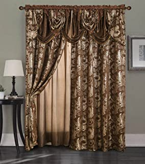 Golden Rugs Jacquard Luxury Curtain Window Panel Set Curtain with Attached Valance and Backing Bedroom Living Room Dining 55