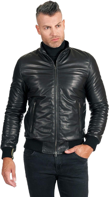 Black natural lamb leather bomber jacket smooth aspect