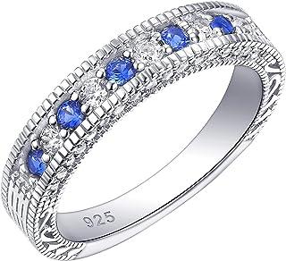 خواتم Newshe اتيرنتي للنساء خواتم خطبة زفاف من الفضة الإسترلينية باللون الأزرق مقاس 5-10