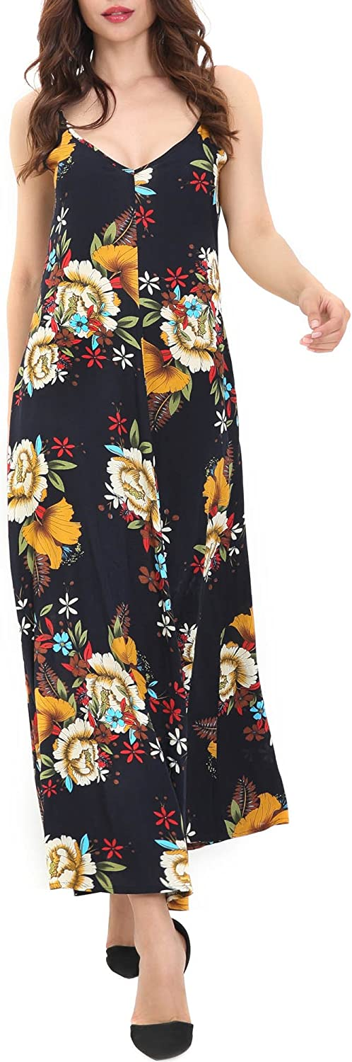 HUHOT Women Sleeveless V Neck Boho Floral Adjustable Spaghetti Strap Maxi Dress Sundress