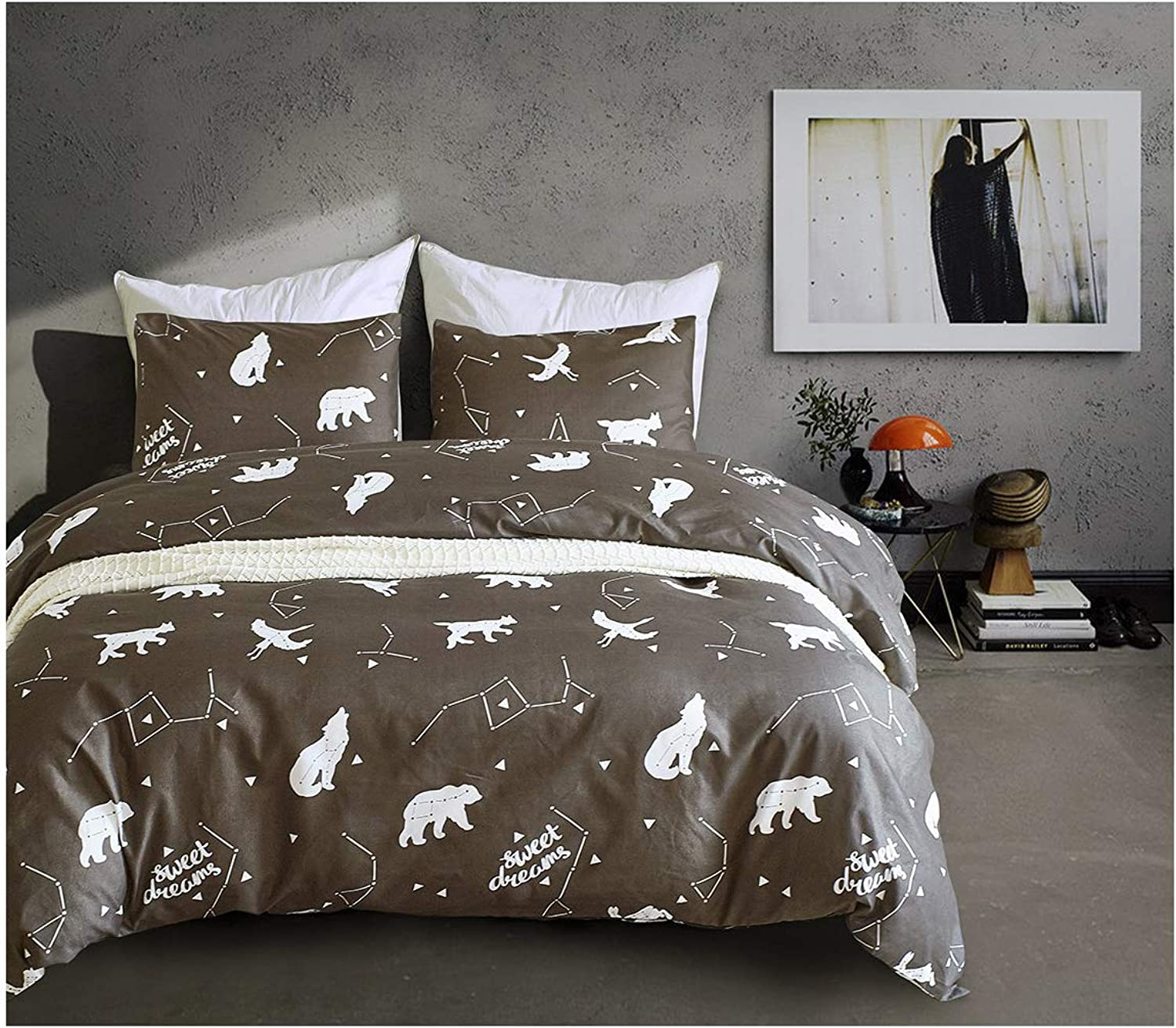 Luofanfei Constellation Duvet Cover Sets Kids Boys Twin Cotton Comforter Cover 3PC Black Animals Bedding Cover Sets with 4 Corner Ties,Zipper Closure