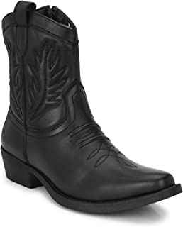 Delize Black/Tan Cowboy High Ankle Boots for Mens