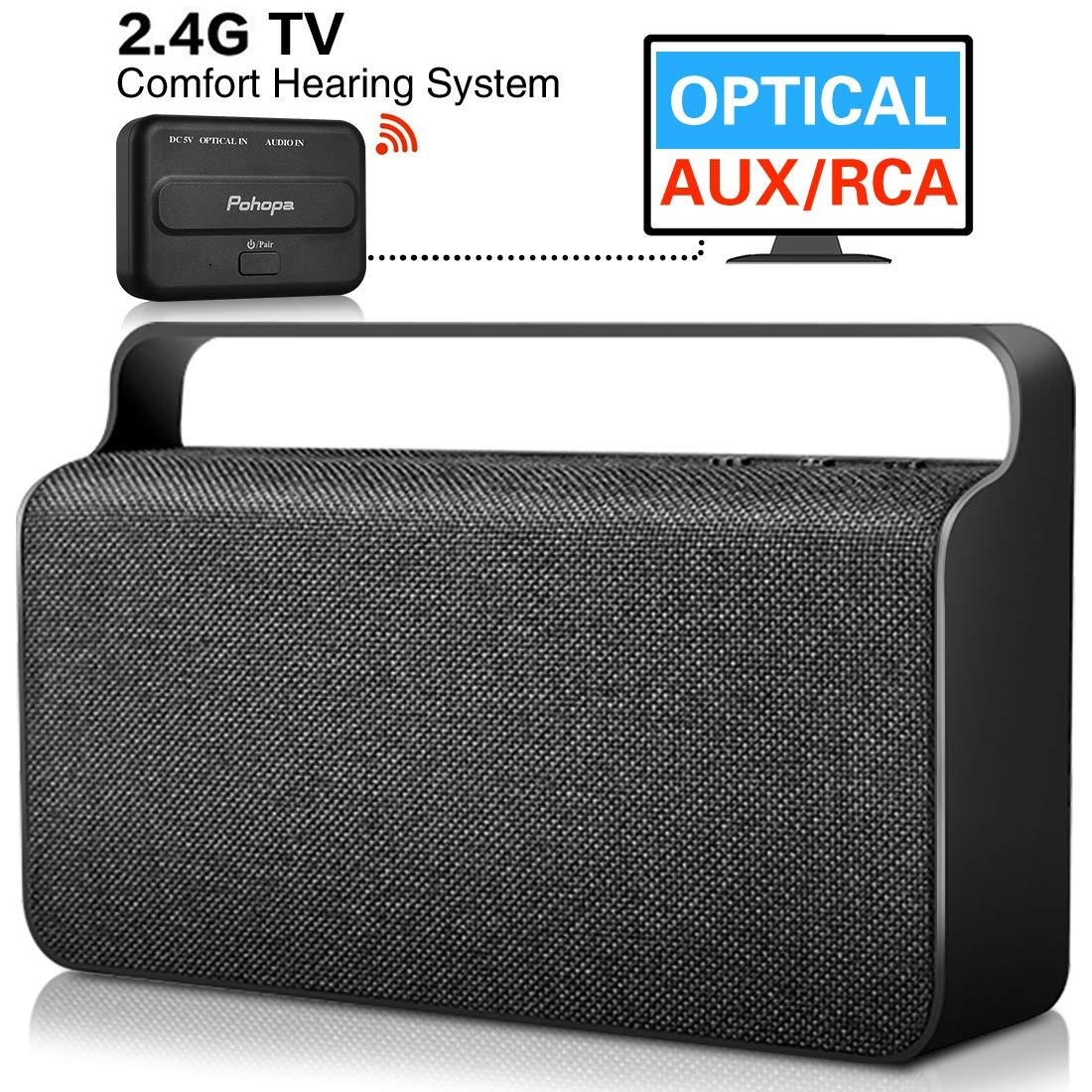 Pohopa - Altavoz inalámbrico para TV, portátil, con transmisor (óptico, AUX de 3,5 mm, RCA, 10 W), Color Negro: Amazon.es: Electrónica