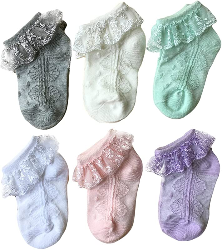 Baby Girls Eyelet Lace Flower Socks QandSweet Ankle Sock For Newborn Infant Toddlers Kids 0 8T