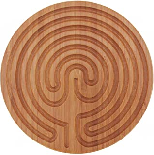 """BambooMN 6"""" Dia Carbonized Brown Bamboo Finger Labyrinth for Meditation and Prayer, 7 Circuit Cretan Style, 1 Piece"""
