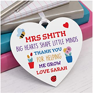 PERSONALISED Teacher Appreciation Gifts - Teacher Thank You Gifts - End of Term Gifts for Teacher, Teaching Assistant, Key Worker - It Takes A Big Heart To Help Shape Little Minds Plaque for Teachers