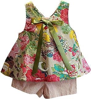 Switchali Vestidos niñas, Niños Bebé Niña Verano Moda Blusas Chaleco Floral Camisa + Bowknot Pantalones Cortos Conjunto de...