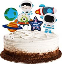 Winrase Pack of 14 Cute Planet Astronaut Rocket Spaceship Cupcake Toppers Kids Party Decoration Paper Cake Cupcake Toppers (Planet Astronaut)