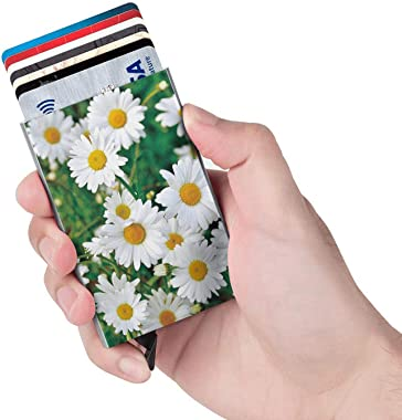 Daisy Flower  Business Card Case Automatic Pop Up Card Holder Slim Professional Thumb Drive Name Card Carrier