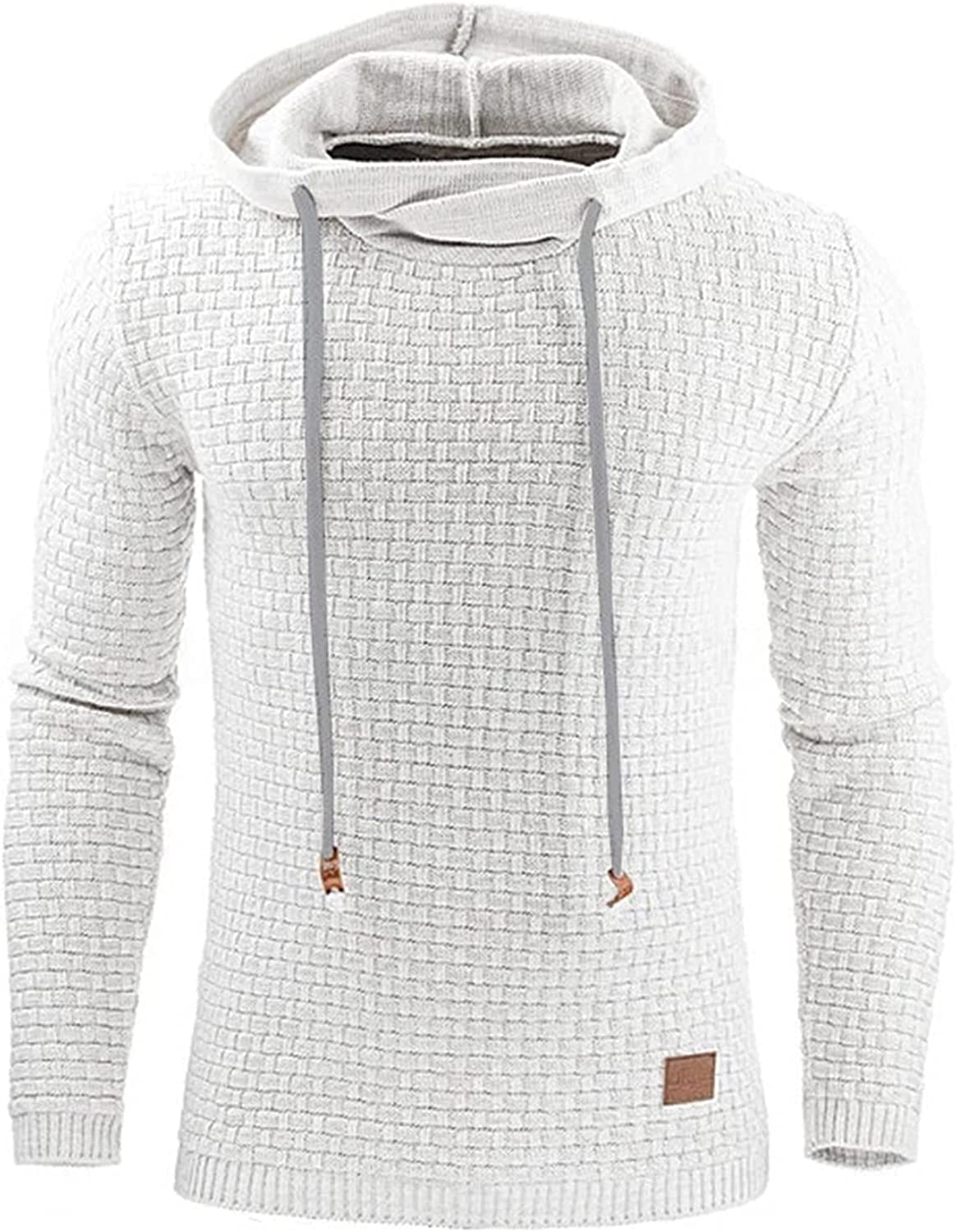 Chunky Waffle Knit Sweater Hoodies Mens Long Sleeve Cotton Hooded Sweatshirt Hipster Gym Plaid Jacquard Pullover