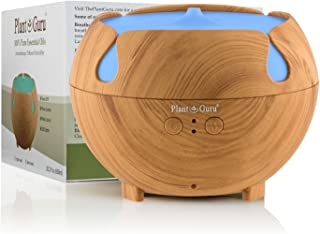 Essential Oil Diffuser Ultrasonic Cool Mist Humidifier Light Wood Grain 600 ml. Large Capacity Auto Shut off and 7 Color LED Lights Great For Home, Bedroom, Baby Room, Bathroom & Office