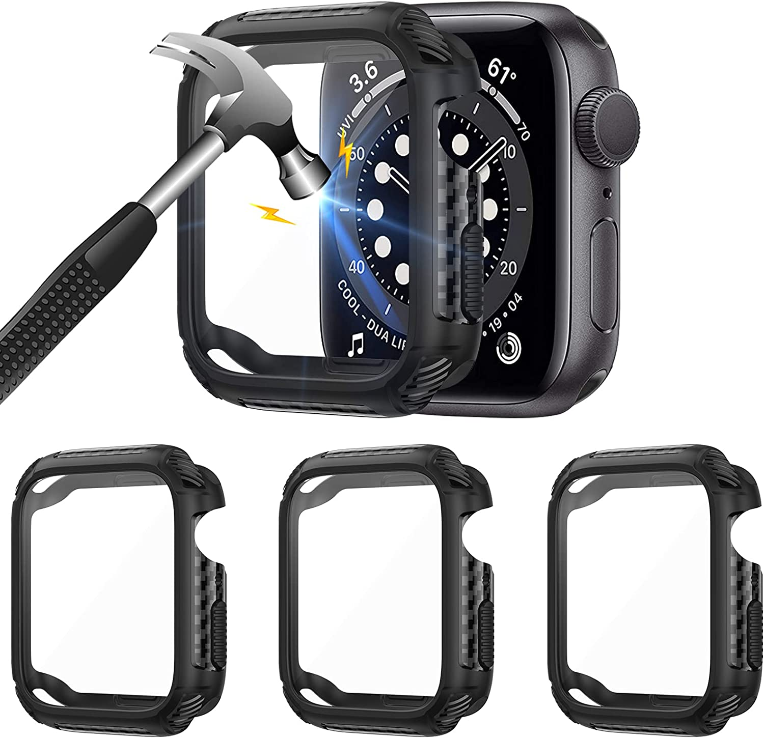 Liwin 3-Pack Case Compatible with Apple Watch SE/Series 6 / Series 5 / Series 4 44mm with Tempered Glass Screen Protector, Full Protective Cover TPU Bumper Accessories Compatible with iWatch 44mm