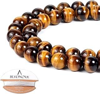 BEADNOVA Yellow Tiger Eye Gemstone Round Loose Beads for Jewelry Making (8mm, 45-48pcs)