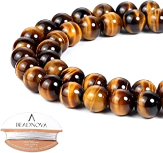 BEADNOVA Yellow Tiger Eye Beads Natural Crystal Beads Stone Gemstone Round Loose Energy Healing Beads with Free Crystal Stretch Cord for Jewelry Making (8mm, 45-48pcs)