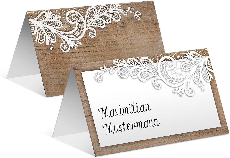Tischkarten Hochzeit (100 Stück) - Rustikal mit weißer Spitze - Platzkarten Namenskarten B01N4W9Q7I | Sehr gute Qualität