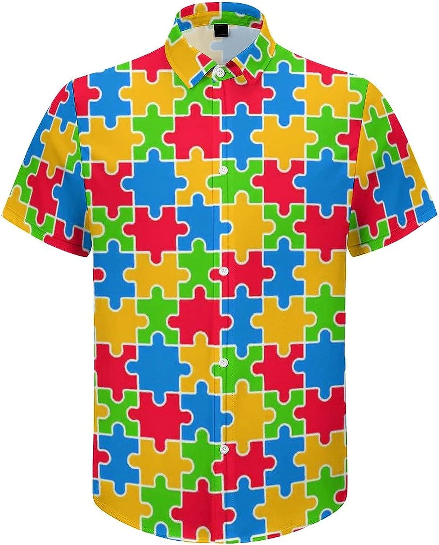 Men's Short Sleeve Button Down Shirt Autism Puzzles Summer Shirts