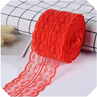 Lace Tape DIY Apparel Sewing & Fabric Burgundy Lace Trimming Gift Packaging Lace Ribbon,4.5Cm,Red