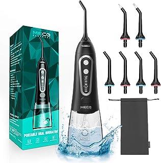 MECO Irrigador Bucal Portátil, Irrigador Dental Profesional con 6 Boquillas y 5 Modos, Irrigador Viaje USB Recargable, 300ML IPX8 Impermeable con Modo Personalizado para Dental Limpieza Water Flosser