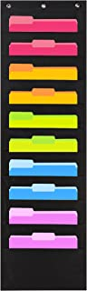 Heavy Duty Storage Pocket Chart with 10 Pockets, 3 Over Door Hangers Included, Hanging..