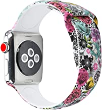 Sunmitech Compatible Apple Watch Band 38mm 42mm, Silicone Printed Sport Bands Bracelet Strap Wristband Replacement for Apple Watch iwatch Series 3 2 1,S/M M/L Size