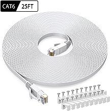 Cat6 Ethernet Cable 25 FT White, BUSOHE Cat-6 Flat RJ45 Computer Internet LAN Network..