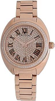 Croton Womens Quartz Rose Goldtone Stainless Steel Bracelet Watch