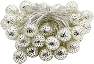 9.84ft Globe String Lights Battery Operated Waterproof 20 Silver Metal Balls LED Lights Remote Timer Moroccan Orb Decorati...