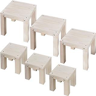 ガーデンガーデン 天然木製 キュービックフラワースタンド 20cm&30cmタイプ 各3台 大小6台セット ウォッシュホワイト 組み合わせ自由なスツール型花台 CFS-200-300WHT