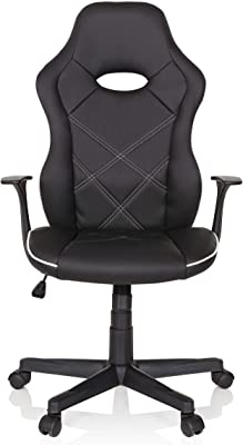 hjh OFFICE 621974 silla gaming FIRE piel sintética negro / blanco silla de escritorio racing